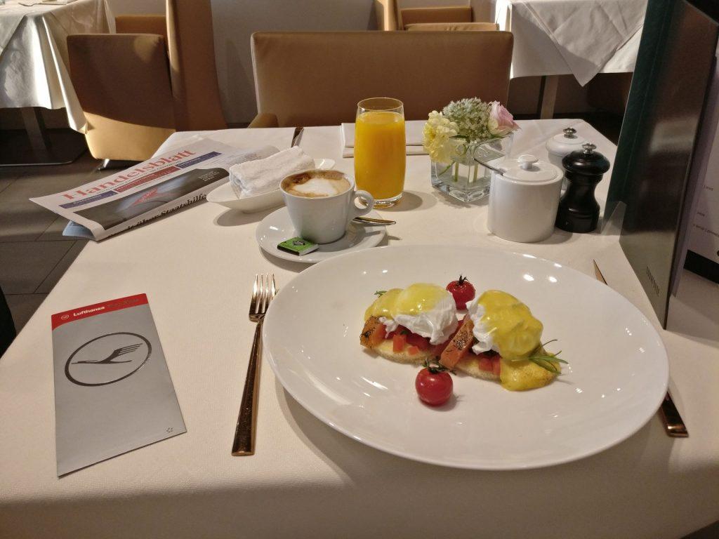 Lufthansa First Class Lounge Munich Breakfast