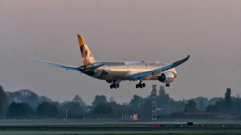 Etihad Boeing 787 Landung Sonnenaufgang Sunrise