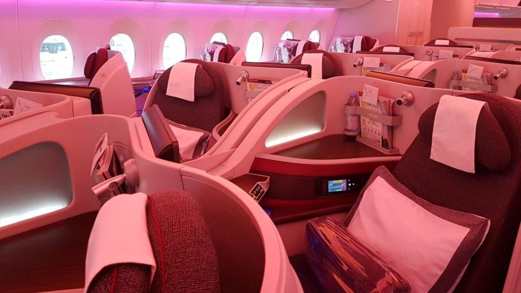 Qatar Airways Business Class Airbus A350 Kabine 1