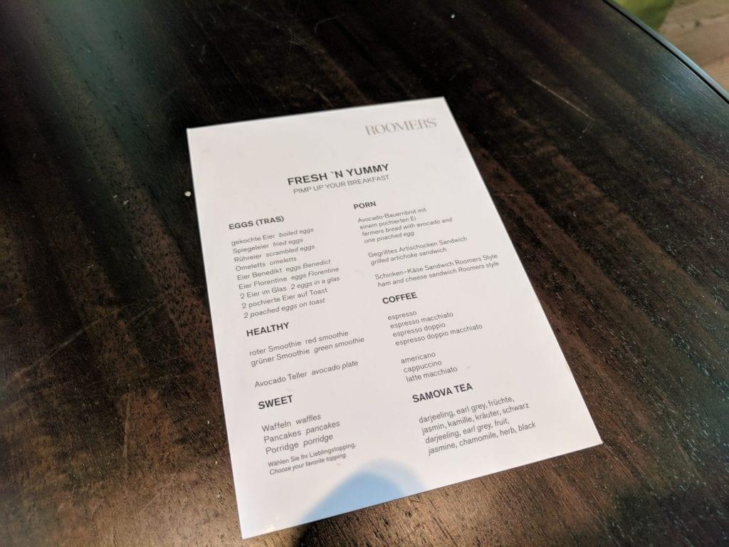 Roomers Baden Baden Frühstück Karte
