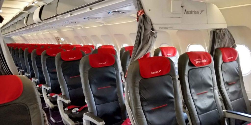 Austrian Airlines Business Class Kurzstrecke A320 Sitze Vorhang