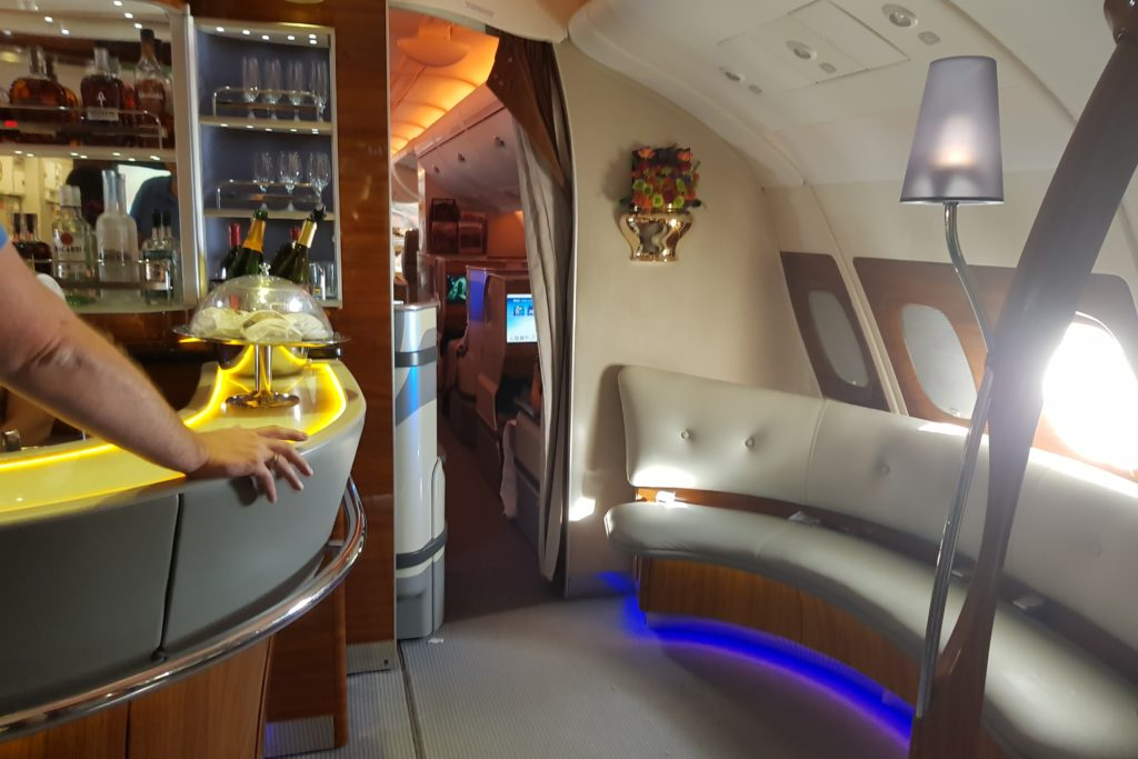 Emirates Business Class Airbus A380 Bar Sofas