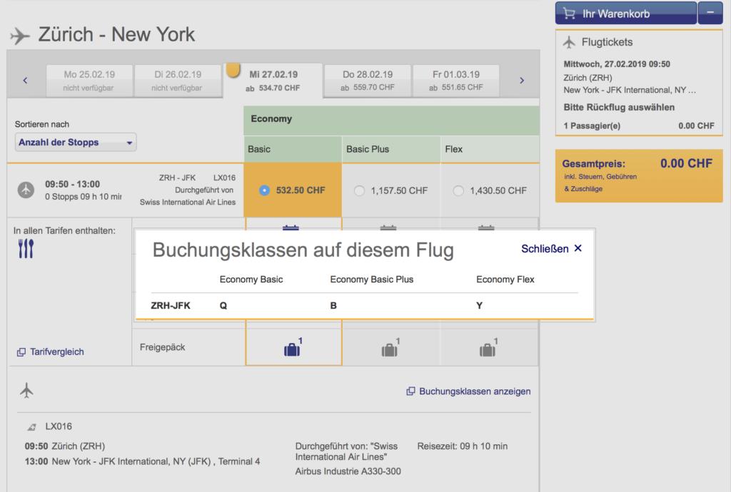 Buchungsklassen Lufthansa