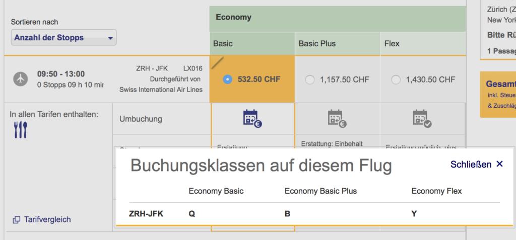 Buchungsklasse Lufthansa