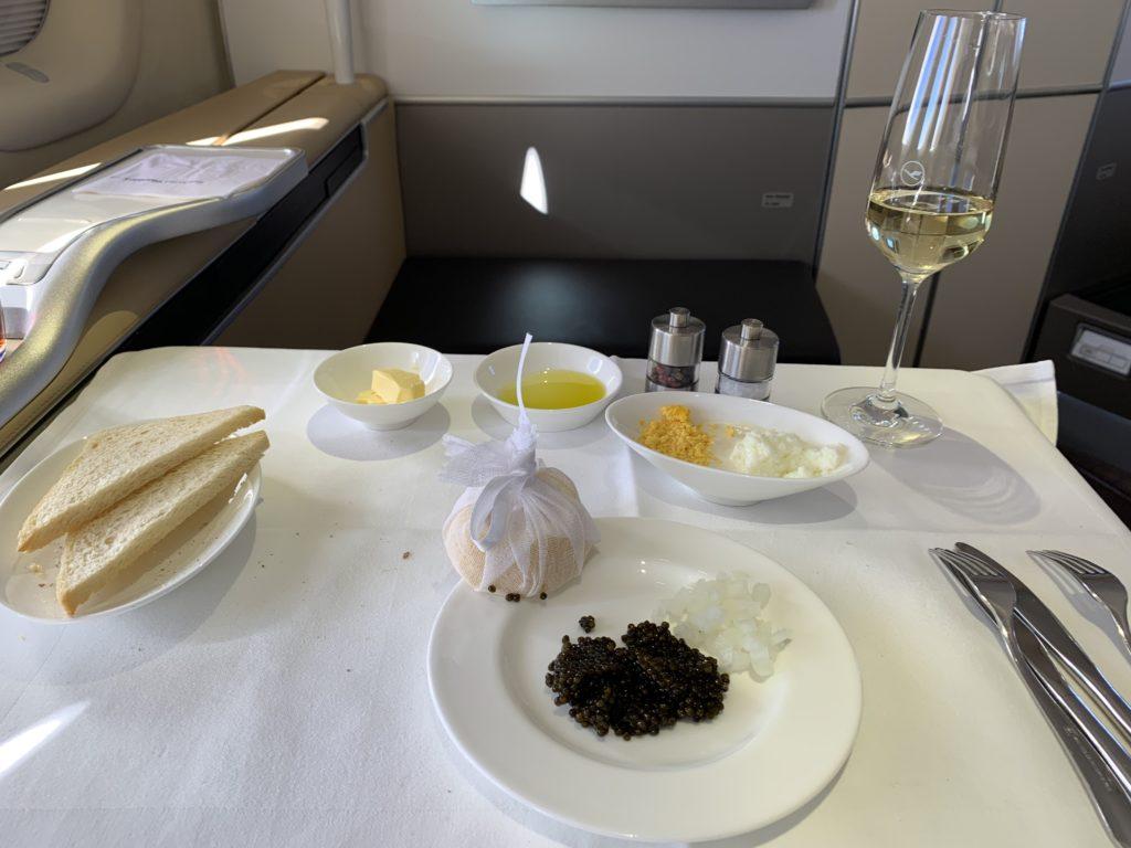 Lufthansa 747 First Class Kaviar