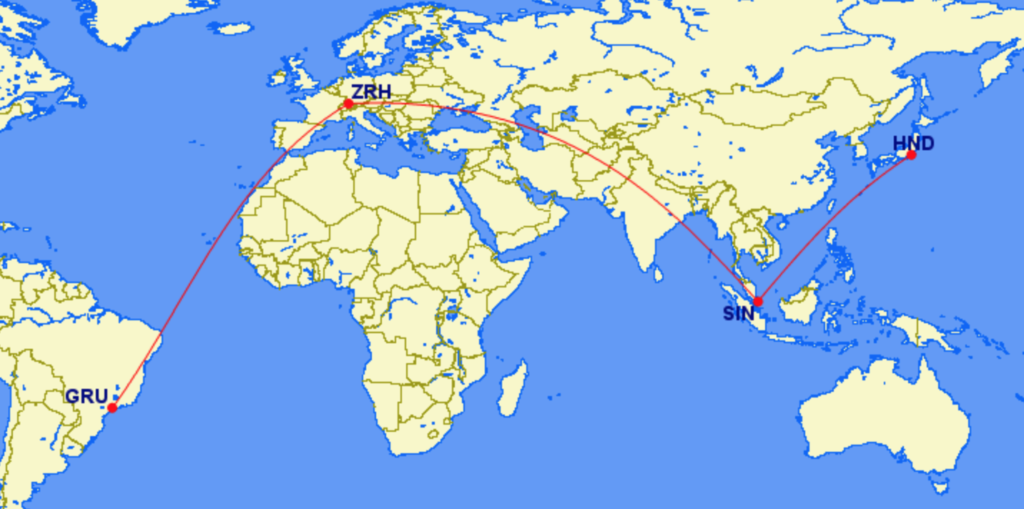 Routing GRU ZRH SIN HND Map