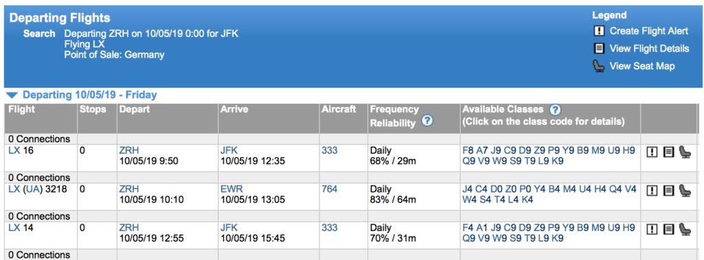 Expertflyer ZRH to JFK