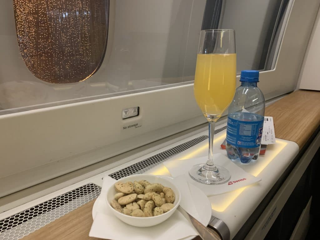 Swiss First Class 777 Pre Departure Snack Drink