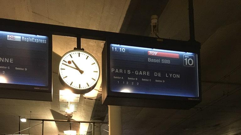 Anzeige TGV Bern Paris