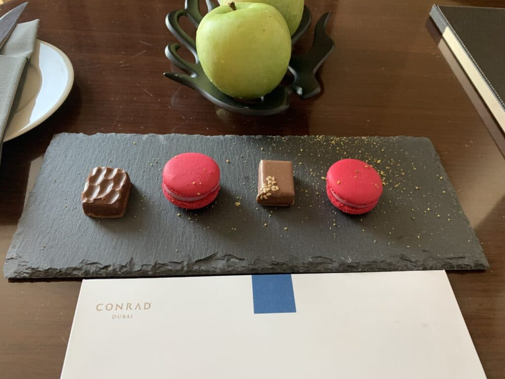 Conrad Dubai Welcome Snack InRoom