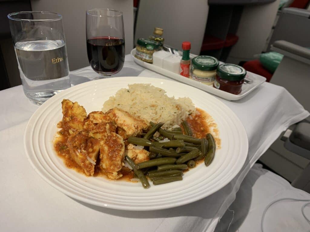 Ethiopian A350 Business Class Menu Chicken