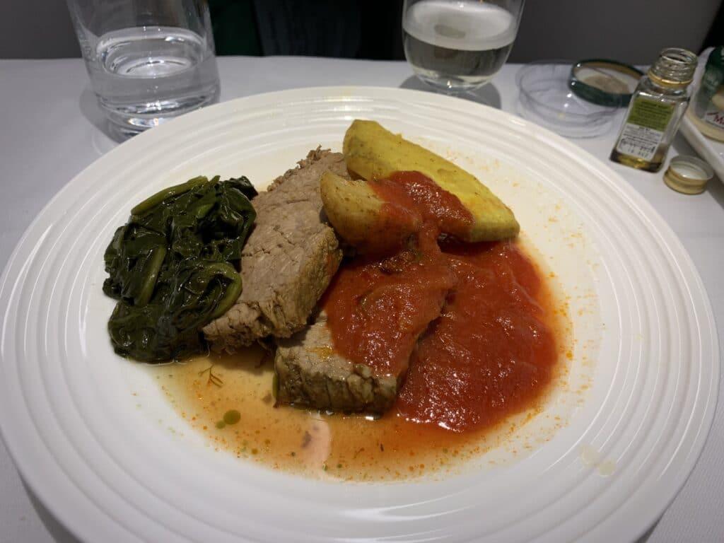 Ethiopian A350 Business Class Menu Meat
