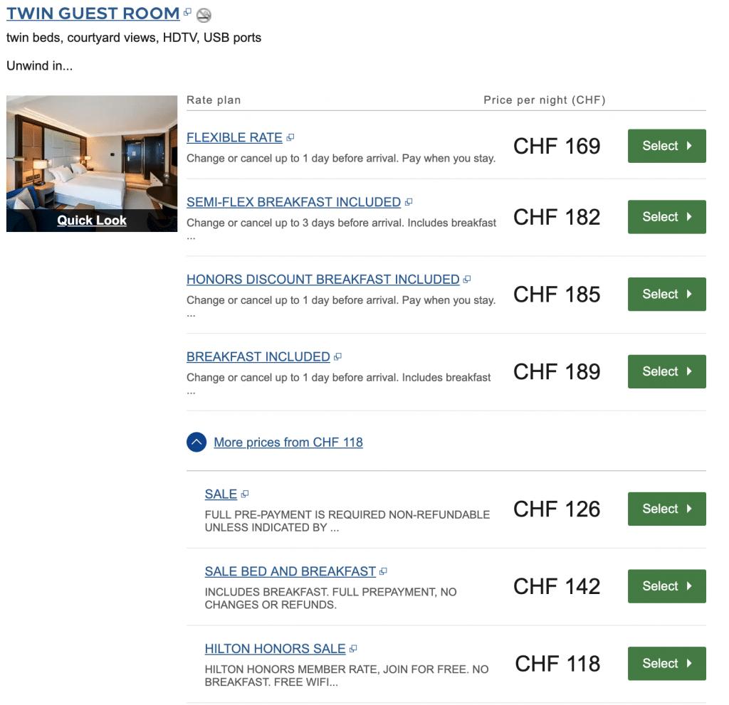 Hilton Budapest Sale Oktober 2019 CHF