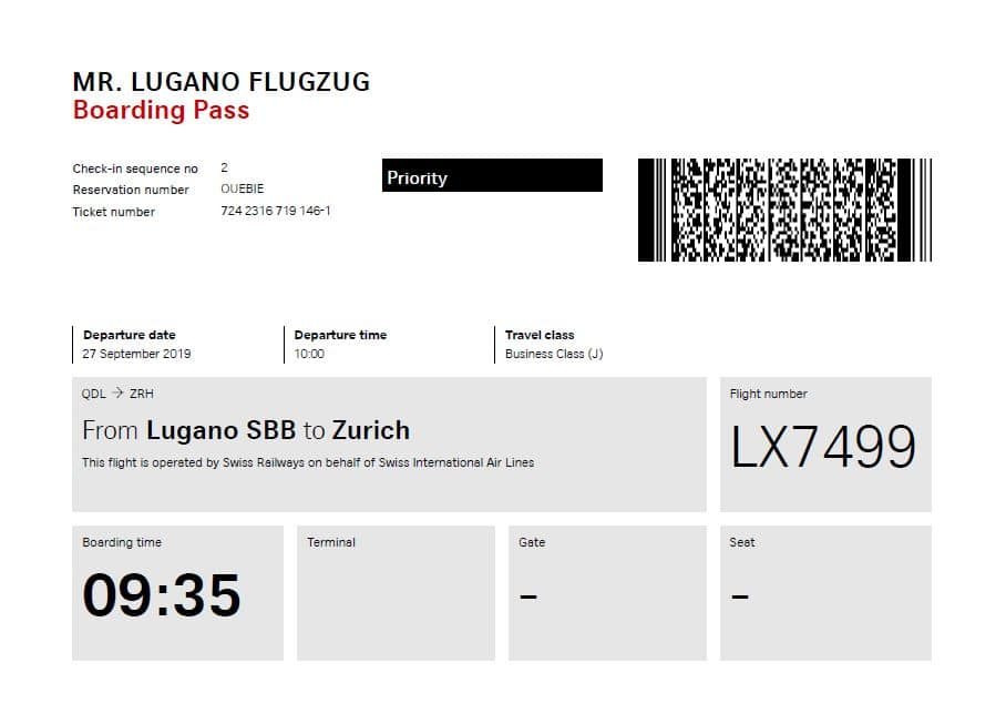 Swiss Flugzug Lugano Zürich Business Class Boarding Pass