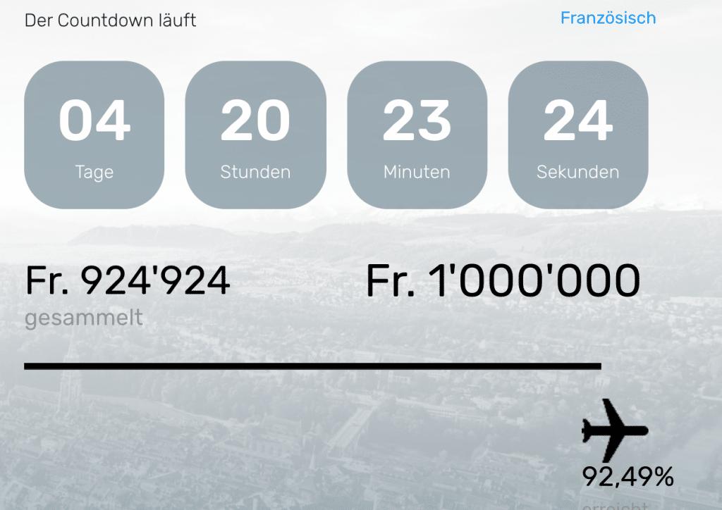 FlyBAIR Finanzierungsstand Mittwoch 20191127