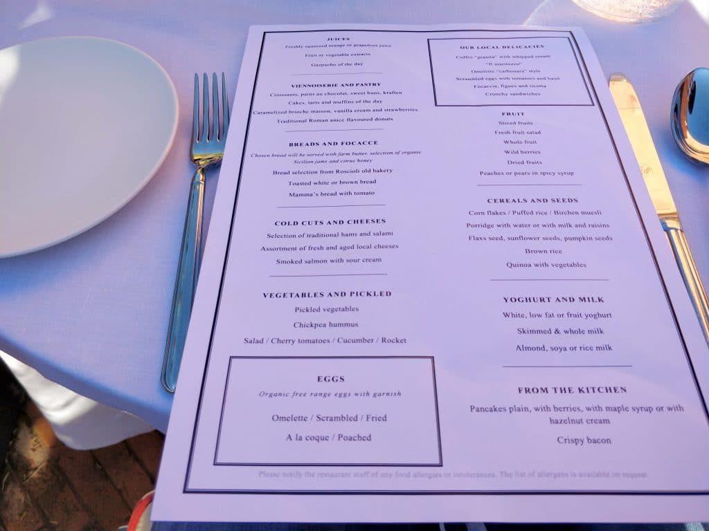 Rocco Forte Hotel De La Ville Rom Frühstück Menü 1024x768