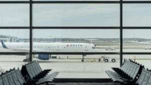 Delta Airplane On Airport Cropped
