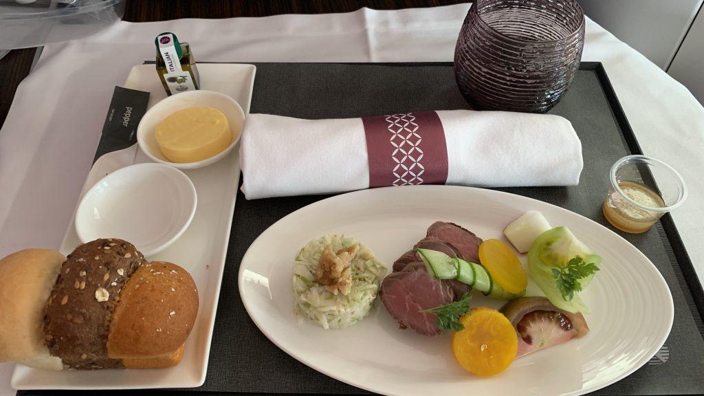 Qatar Airways Business Class Essen Vorspeise 1024x576