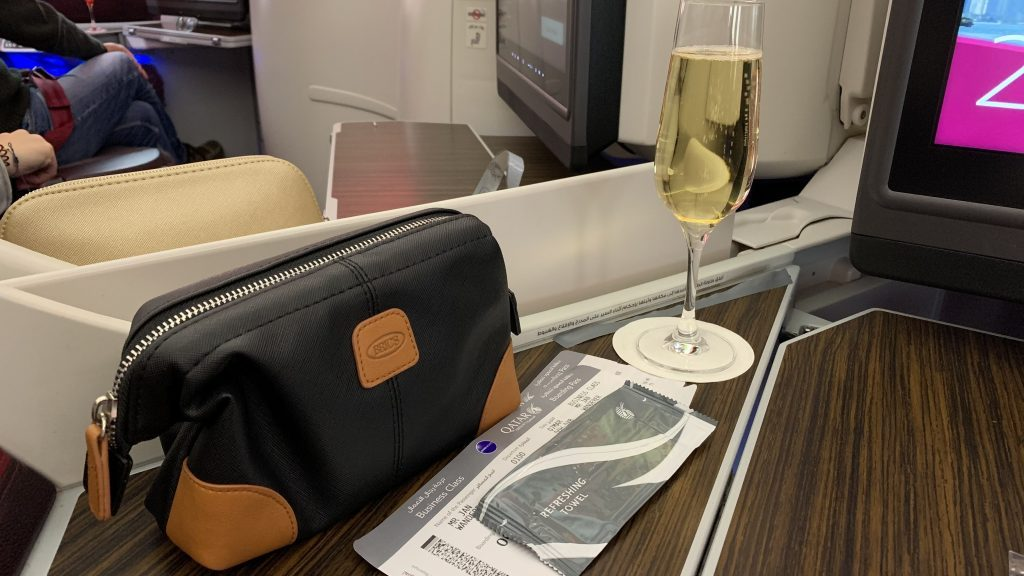 Qatar Ariways Business Class Welcome Drink 1024x576